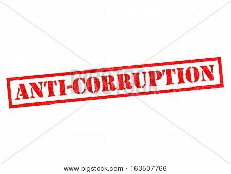 ANTI-CORRUPTION red Rubber Stamp over a white background.