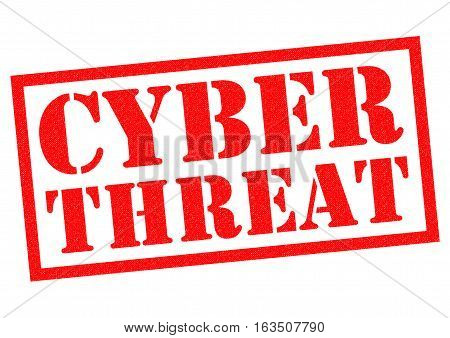 CYBER THREAT red Rubber Stamp over a white background.