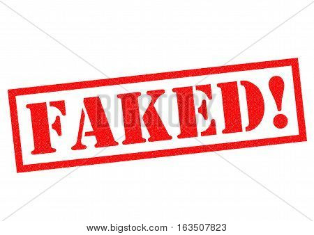 FAKED! red Rubber Stamp over a white background.