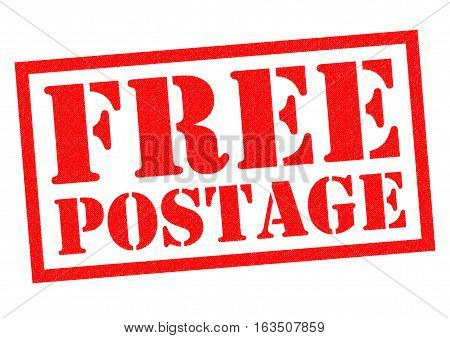 FREE POSTAGE red Rubber Stamp over a white background.