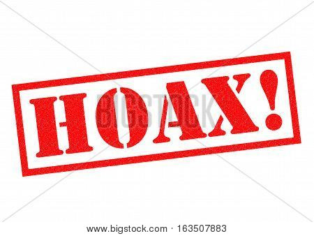 HOAX! red Rubber Stamp over a white background.