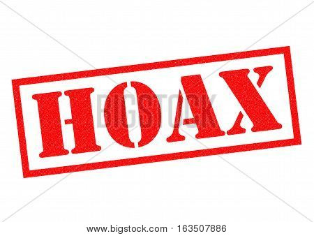 HOAX red Rubber Stamp over a white background.