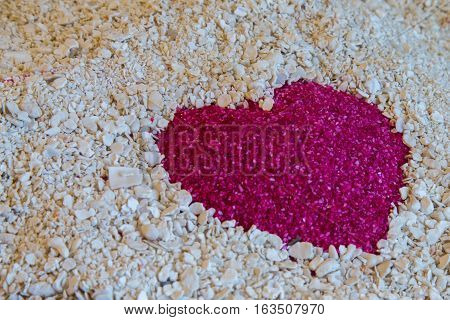 One Red Heart In The Sand On The White Sand Of Coral