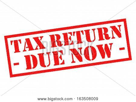 TAX RETURN DUE NOW red Rubber Stamp over a white background.