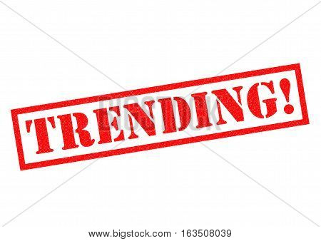 TRENDING! red Rubber Stamp over a white background.