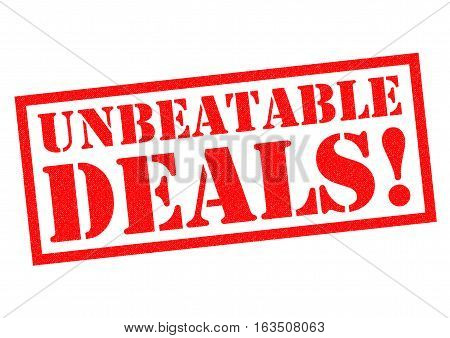 UNBEATABLE DEALS! red Rubber Stamp over a white background.
