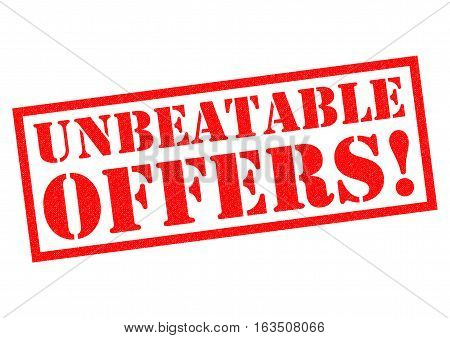 UNBEATABLE OFFERS! red Rubber Stamp over a white background.