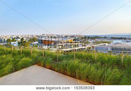PALAIO FALIRO ATHENS GREECE, SEPTEMBER 23 2016: the Olympic stadium Tae Kwon do as seen from Stavros Niarchos foundation Athens Greece.