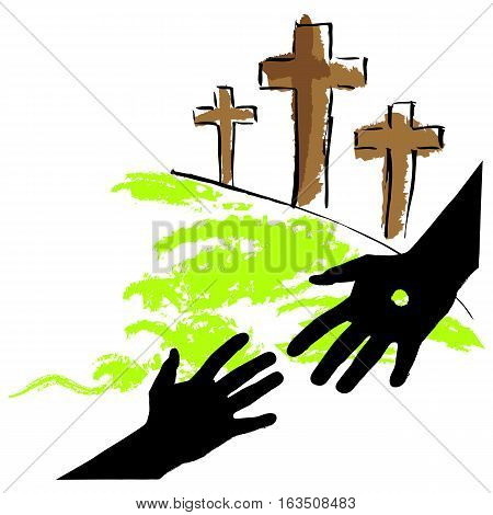 hand drawn bible story Jesus salvation by hanging on the cross for human's sin isolated on white background. vector illustration