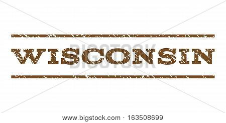 Wisconsin watermark stamp. Text tag between horizontal parallel lines with grunge design style. Rubber seal stamp with scratched texture. Vector brown color ink imprint on a white background.