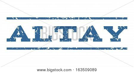 Altay watermark stamp. Text caption between horizontal parallel lines with grunge design style. Rubber seal stamp with scratched texture. Vector cobalt color ink imprint on a white background.