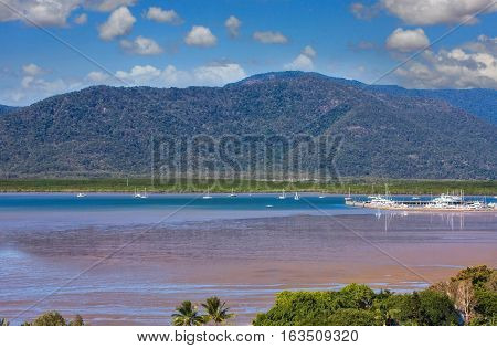 view of beautiful tropical Cairns habour in Australia