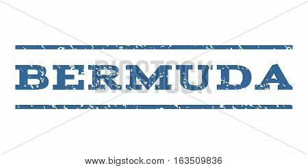 Bermuda watermark stamp. Text tag between horizontal parallel lines with grunge design style. Rubber seal stamp with dust texture. Vector cobalt color ink imprint on a white background.