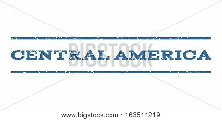 Central America watermark stamp. Text caption between horizontal parallel lines with grunge design style. Rubber seal stamp with dust texture. Vector cobalt color ink imprint on a white background.