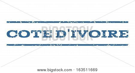 Cote D'Ivoire watermark stamp. Text tag between horizontal parallel lines with grunge design style. Rubber seal stamp with dirty texture. Vector cobalt color ink imprint on a white background.