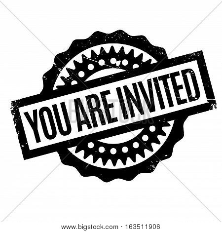 You Are Invited rubber stamp. Grunge design with dust scratches. Effects can be easily removed for a clean, crisp look. Color is easily changed.