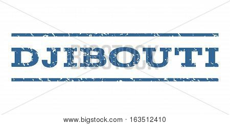 Djibouti watermark stamp. Text tag between horizontal parallel lines with grunge design style. Rubber seal stamp with unclean texture. Vector cobalt color ink imprint on a white background.