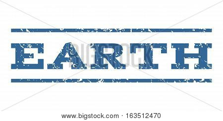 Earth watermark stamp. Text caption between horizontal parallel lines with grunge design style. Rubber seal stamp with dust texture. Vector cobalt color ink imprint on a white background.