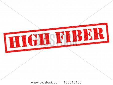 HIGH FIBER red Rubber Stamp over a white background.