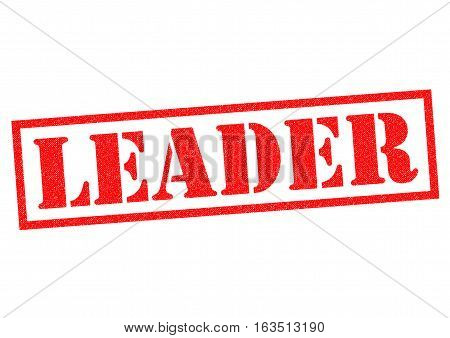 LEADER red Rubber Stamp over a white background.