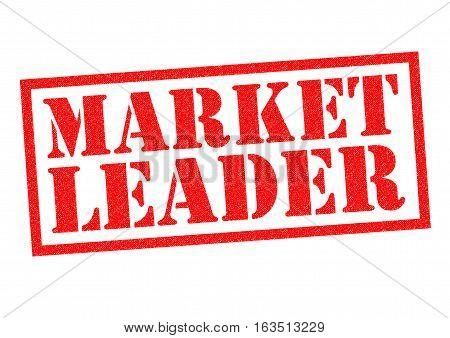 MARKET LEADER red Rubber Stamp over a white background.