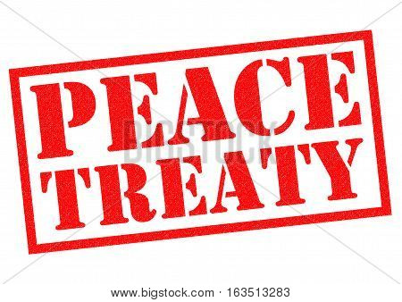 PEACE TREATY red Rubber Stamp over a white background.