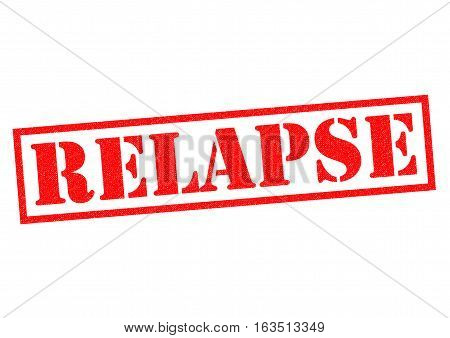 RELAPSE red Rubber Stamp over a white background.