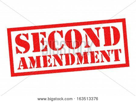 SECOND AMENDMENT red Rubber Stamp over a white background.