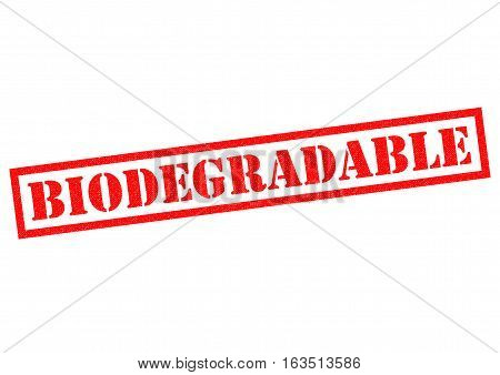 BIODEGRADABLE red Rubber Stamp over a white background.