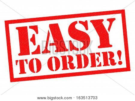 EASY TO ORDER! red Rubber Stamp over a white background.