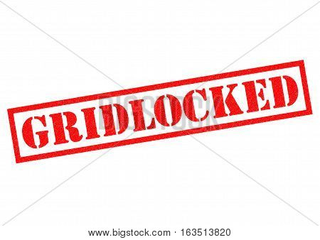 GRIDLOCKED red Rubber Stamp over a white background.