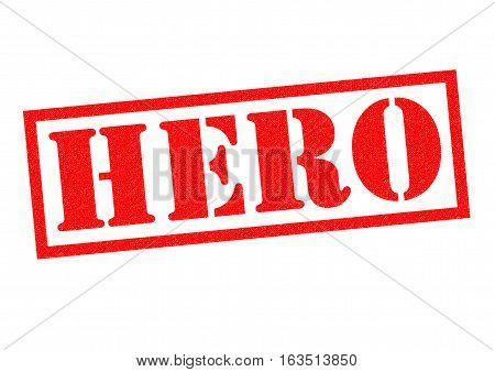 HERO red Rubber Stamp over a white background.