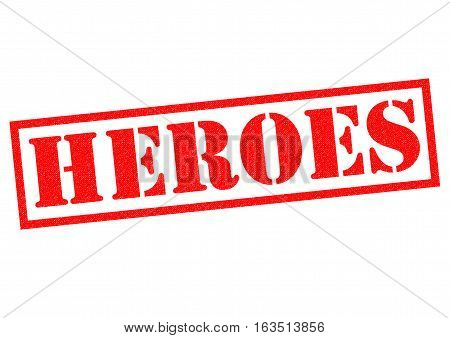HEROES red Rubber Stamp over a white background.