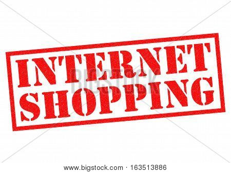INTERNET SHOPPING red Rubber Stamp over a white background.