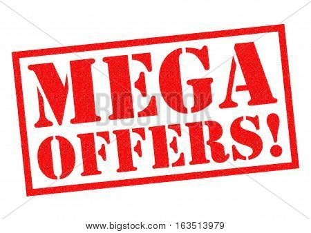 MEGA OFFERS! red Rubber Stamp over a white background.