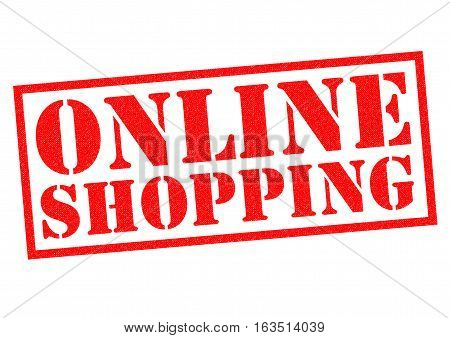 ONLINE SHOPPING red Rubber Stamp over a white background.