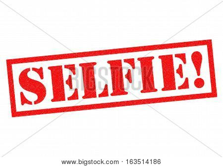 SELFIE! red Rubber Stamp over a white background.