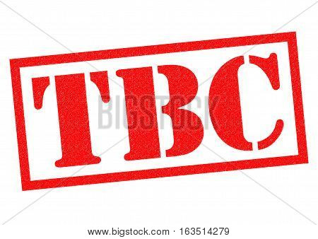 TBC red Rubber Stamp over a white background.