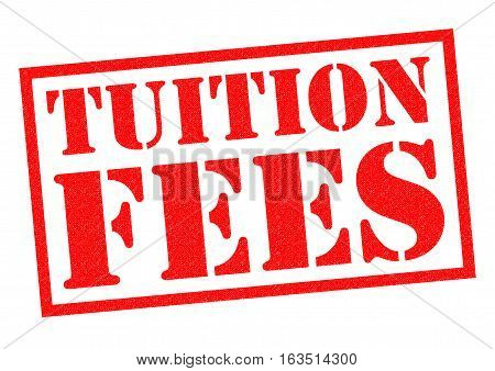 TUITION FEES red Rubber Stamp over a white background.