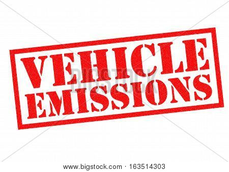 VEHICLE EMISSIONS red Rubber Stamp over a white background.