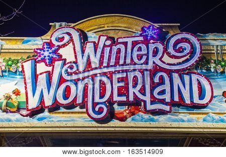 LONDON UK - DECEMBER 9TH 2015: The entrance sign for the annual Winter Wonderland Christmas event in Hyde Park London on 9th December 2015.