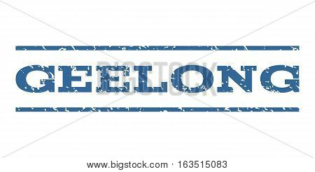 Geelong watermark stamp. Text tag between horizontal parallel lines with grunge design style. Rubber seal stamp with dust texture. Vector cobalt color ink imprint on a white background.