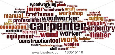 Carpenter word cloud concept. Vector illustration on white