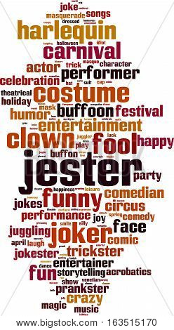 Jester word cloud concept. Vector illustration on white