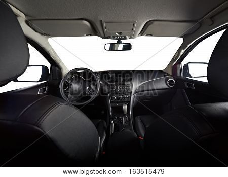 Modern interior of pickup truck with isolated windows and leather seats
