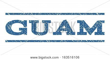 Guam watermark stamp. Text tag between horizontal parallel lines with grunge design style. Rubber seal stamp with scratched texture. Vector cobalt color ink imprint on a white background.