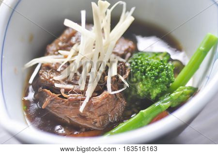 stewed beef with vegetable dish ,  stewed beef