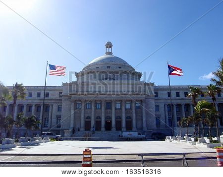 The Capitol of Puerto Rico (Spanish: Capitolio de Puerto Rico) is located on the Islet of San Juan just outside the walls of Old San Juan. The building is home to the bicameral Legislative Assembly composed of the House of Representatives and Senate. The