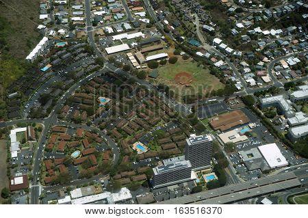 Aerial of Kahala Wilson Park YMCA and H-1 Highway on Oahu Hawaii. April 2016.