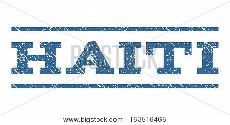 Haiti watermark stamp. Text caption between horizontal parallel lines with grunge design style. Rubber seal stamp with dust texture. Vector cobalt color ink imprint on a white background.